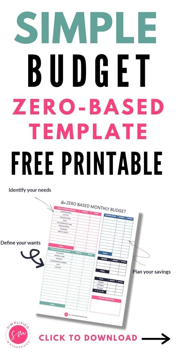 2021 Free Simple Budget Template Printable Pdf Simplified Motherhood